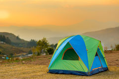 Tent in the sunset Stock Photo