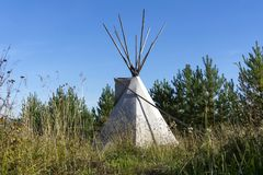 Tent tipi in the autumn landscape stock photos