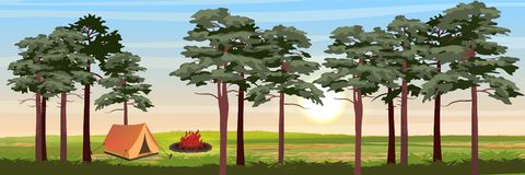 Tent for tourism in the pine forest. Bonfire in the meadow vector illustration
