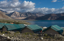 Tent for tourist at Pangong lake Royalty Free Stock Photography