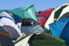 Tent Town. An abstract photo of multiple tents at a music festival Stock Photography