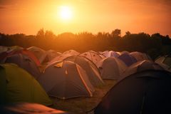 Tent town at sunset Stock Photography