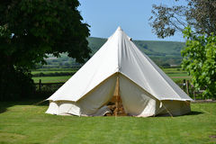 Tent. Traditional cotton canvas bell tent near the South Downs stock photography