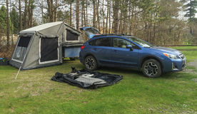 Tent Trailer Setup Stock Photo