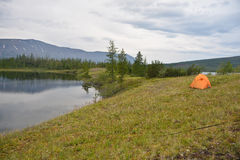 Tent in the tundra. Royalty Free Stock Images