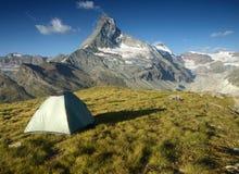 Tent under Matterhorn, Switzerland. Tent under Matterhorn, Pennine Alps, Switzerland Stock Photos