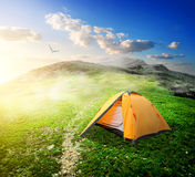 Tent in valley Stock Images