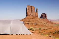 Tent with a view. Tent camping in Monument Valley Stock Photography