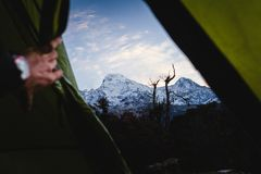 A tent view of Mountain Dhaulagiri in the Himalayas. Nepal royalty free stock photo