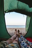 Tent with a view of the sea Royalty Free Stock Images