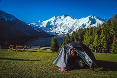 Tent with a view Royalty Free Stock Images