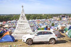 Tent village on the 21th Woodstock Festival Poland. Royalty Free Stock Photography