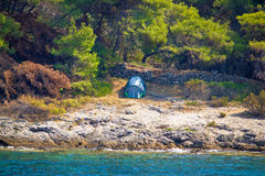 Tent in wilderness by the sea Royalty Free Stock Photography