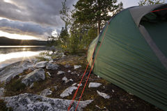 Tent in the wilderness of Sweden Royalty Free Stock Images