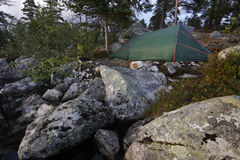 Tent in the wilderness of Sweden Royalty Free Stock Photography