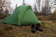 Tent in the wilderness of Sweden Royalty Free Stock Photos