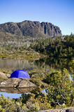 Tent in the wilderness, Tasmania Royalty Free Stock Images