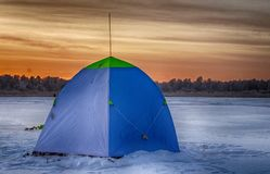 Tent for winter fishing on the ice royalty free stock images