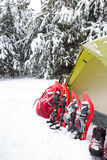 Tent in the winter forest. Royalty Free Stock Photography