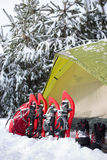 Tent in the winter forest. Stock Photo