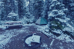 Tent in winter forest Stock Photos
