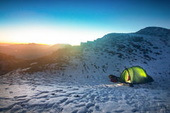 Tent in winter landscape Royalty Free Stock Image