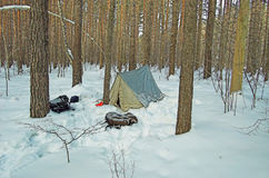 Tent in winter the snow-covered forest Royalty Free Stock Photography