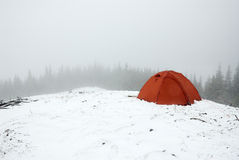 Tent in winter. Tourism tent in winter Carpathians Stock Photography