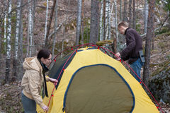 Tent in wood Royalty Free Stock Images