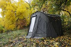 Tent in the woods Royalty Free Stock Images