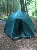 Tent in woods stock image