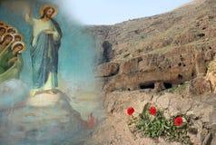 Tentações de Jesus Christ, montanha do deserto, papoilas imagem de stock