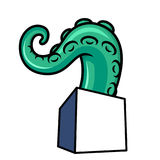 The tentacle crawls out of a square box Stock Photo