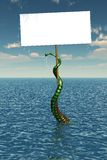 Tentacle in Sea with Blank Sign. A green tentacle is rising up out of the sea, holding a blank sign - 3D render Stock Photography