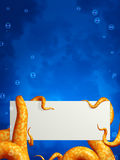 Tentacles, holding an empty card Royalty Free Stock Photography