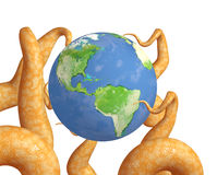 Tentacles of a monster, holding a Earth Stock Photos
