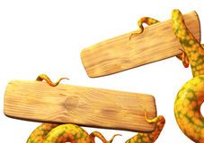 Tentacles of a monster, holding a wooden board Royalty Free Stock Image