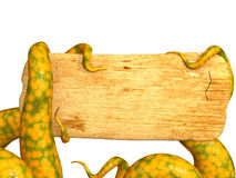 Tentacles of a monster, holding a wooden board. Objects over white vector illustration