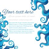 Tentacles of an octopus blue and white frame stock illustration