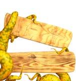 Tentakels die van een monster, een houten raad houden vector illustratie