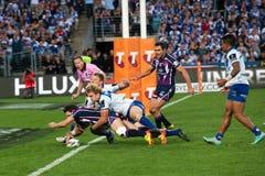 Tentativa bem sucedida no rugby fotografia de stock royalty free