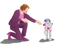 Tentativa da mulher para entregar a agitação com um robô do droid no fundo da sala da estação espacial Foto de Stock Royalty Free