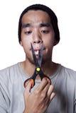 Tentativa do fumador para parar fumar Fotografia de Stock Royalty Free