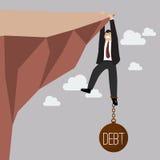 Tentativa do homem de negócios duramente a guardar no penhasco com peso da dívida ilustração do vetor