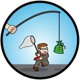 Tentativa do homem de negócios para travar o dinheiro Imagem de Stock