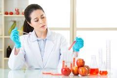Tentativa fêmea do cientista ao alimento do gmo da geração da descoberta fotografia de stock royalty free