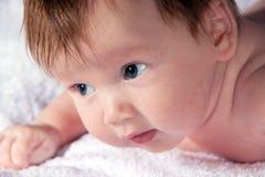 Tentativa infantil pequena para levantar a cabeça Foto de Stock Royalty Free