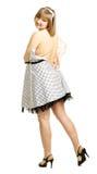Tentativas da mulher gravida para caber o vestido Imagens de Stock Royalty Free