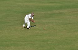 Tentative de mise en place pendant le match de cricket Photographie stock libre de droits