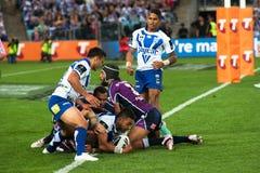 Tentative non réussie dans le rugby Photographie stock
